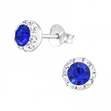 Round - 925 Sterling Silver Crystal Ear Studs A4S38506