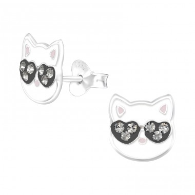 Cat - 925 Sterling Silver Ear studs with crystals A4S38529