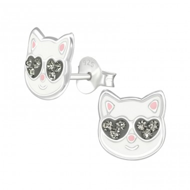 Cat - 925 Sterling Silver Crystal Ear Studs A4S38529