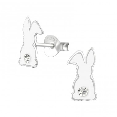 Rabbit - 925 Sterling Silver Crystal Ear Studs A4S38530