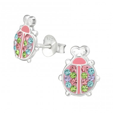 Ladybug - 925 Sterling Silver Crystal Ear Studs A4S38545