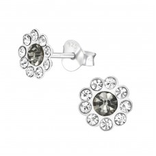 Flower - 925 Sterling Silver Crystal Ear Studs A4S38582