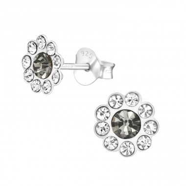 Flower - 925 Sterling Silver Ear studs with crystals A4S38582
