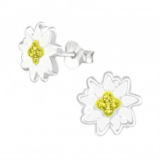 Flower - 925 Sterling Silver Crystal Ear Studs A4S38584