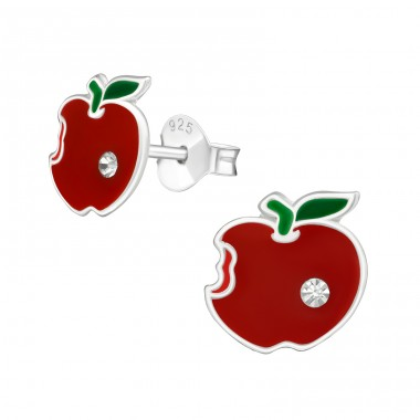 Apple - 925 Sterling Silver Ear studs with crystals A4S38627
