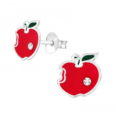 Apple - 925 Sterling Silver Crystal Ear Studs A4S38627