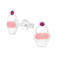 Cupcake - 925 Sterling Silver Crystal Ear Studs A4S38641