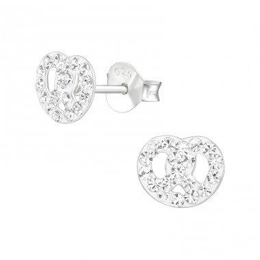 Pretzel - 925 Sterling Silver Ear studs with crystals A4S38673