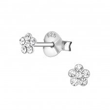 Flower - 925 Sterling Silver Crystal Ear Studs A4S38674