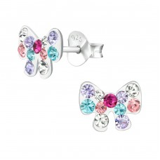 Bow - 925 Sterling Silver Crystal Ear Studs A4S38675