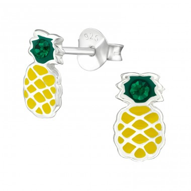Pineapple - 925 Sterling Silver Ear studs with crystals A4S38676