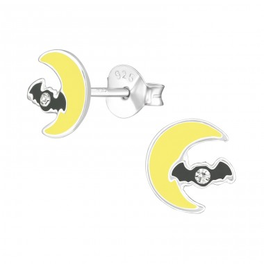 Moon & Bat - 925 Sterling Silver Crystal Ear Studs A4S38678