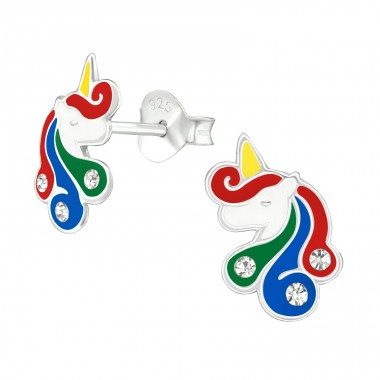 Unicorn - 925 Sterling Silver Ear studs with crystals A4S38700