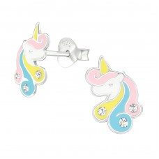 Unicorn - 925 Sterling Silver Crystal Ear Studs A4S38701