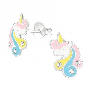Unicorn - 925 Sterling Silver Ear studs with crystals A4S38701