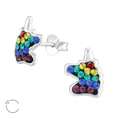 Unicorn - 925 Sterling Silver Ear studs with crystals A4S38702
