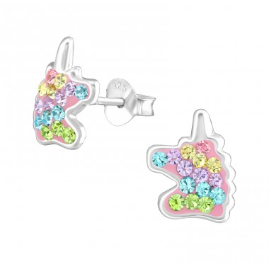 Unicorn - 925 Sterling Silver Crystal Ear Studs A4S38703