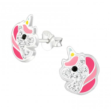 Unicorn - 925 Sterling Silver Ear studs with crystals A4S38707