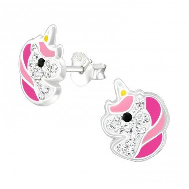Unicorn - 925 Sterling Silver Crystal Ear Studs A4S38707