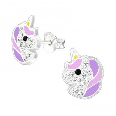 Unicorn - 925 Sterling Silver Ear studs with crystals A4S38708