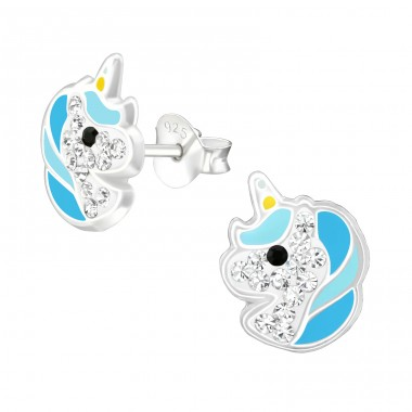Unicorn - 925 Sterling Silver Ear studs with crystals A4S38709