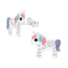 Unicorn - 925 Sterling Silver Crystal Ear Studs A4S38711