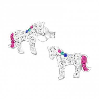 Unicorn - 925 Sterling Silver Ear studs with crystals A4S38713