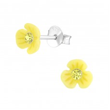 Flower - 925 Sterling Silver Crystal Ear Studs A4S38738
