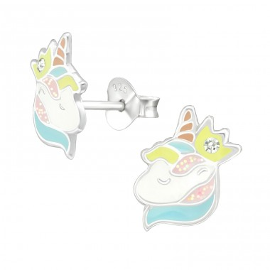 Unicorn - 925 Sterling Silver Crystal Ear Studs A4S38741