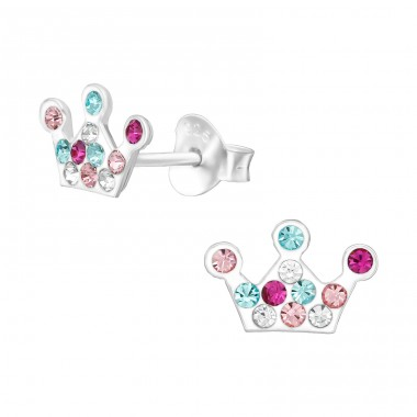 Crown - 925 Sterling Silver Ear studs with crystals A4S38766