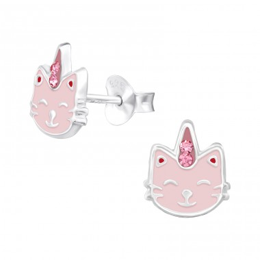 Caticorn - 925 Sterling Silver Crystal Ear Studs A4S38816