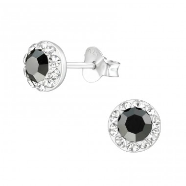 Round - 925 Sterling Silver Crystal Ear Studs A4S38874