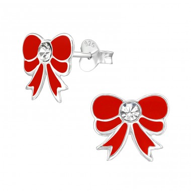Bow - 925 Sterling Silver Crystal Ear Studs A4S39015