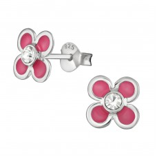 Flower - 925 Sterling Silver Crystal Ear Studs A4S39018