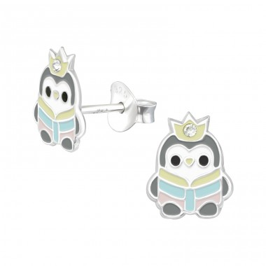 Penguin - 925 Sterling Silver Crystal Ear Studs A4S39143