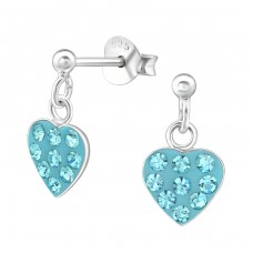 Hanging Heart - 925 Sterling Silver Crystal Ear Studs A4S39324