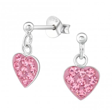 Hanging Heart - 925 Sterling Silver Crystal Ear Studs A4S39325