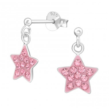 Hanging Star - 925 Sterling Silver Crystal Ear Studs A4S39326