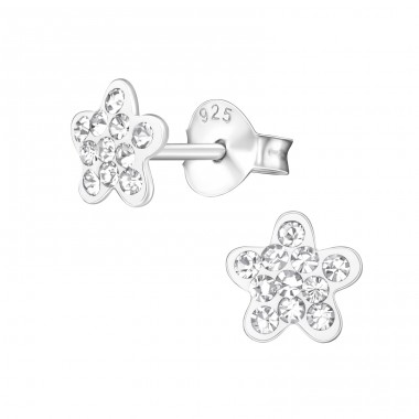 Flower - 925 Sterling Silver Crystal Ear Studs A4S39400