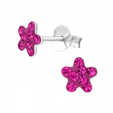 Flower - 925 Sterling Silver Ear studs with crystals A4S39400