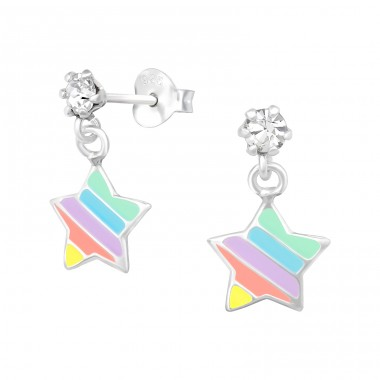 Hanging Star - 925 Sterling Silver Crystal Ear Studs A4S39406