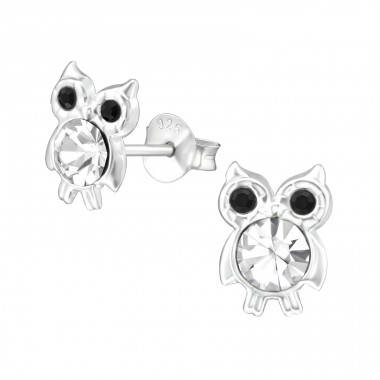 Owl - 925 Sterling Silver Ear studs with crystals A4S39419