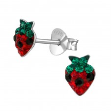 Strawberry - 925 Sterling Silver Crystal Ear Studs A4S39420