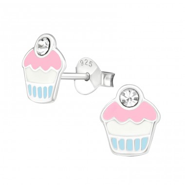 Cupcake - 925 Sterling Silver Crystal Ear Studs A4S39421