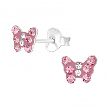Butterfly - 925 Sterling Silver Crystal Ear Studs A4S39422
