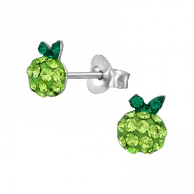 Apple - 925 Sterling Silver Crystal Ear Studs A4S39424
