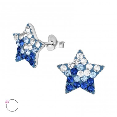 Star - 925 Sterling Silver Crystal Ear Studs A4S39426