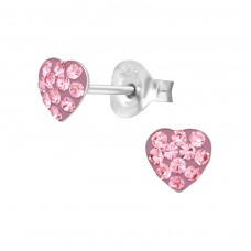 Heart - 925 Sterling Silver Crystal Ear Studs A4S39452