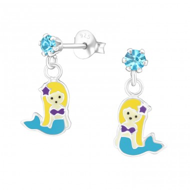 Hanging Mermaids - 925 Sterling Silver Crystal Ear Studs A4S39470