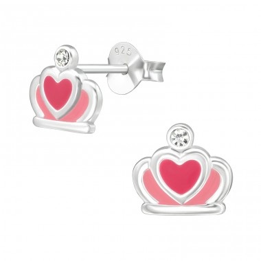 Crown - 925 Sterling Silver Crystal Ear Studs A4S39484